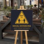 Social distancing easel sign